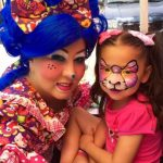 BLUEtiful the Clown with girl face painted as kitty cat butterfly