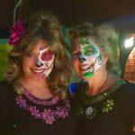 half sugar skull paintings by BLUEtiful the clown