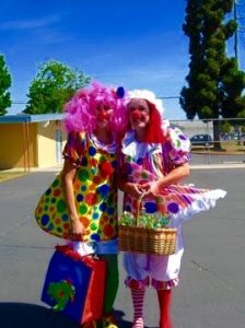 Picture of my friend Janet and I. I'm wearing my first clown costume.