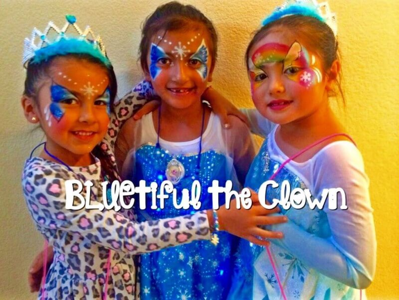 Girls with Butterfly Rainbow Face Painting at San Diego Party