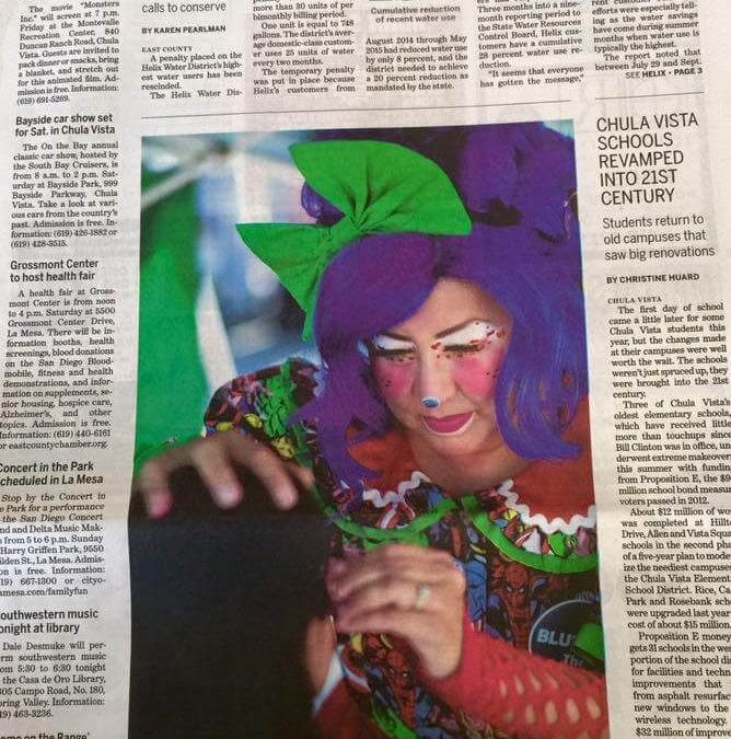 BLUEtiful the Clown in the San Diego Union Tribune!