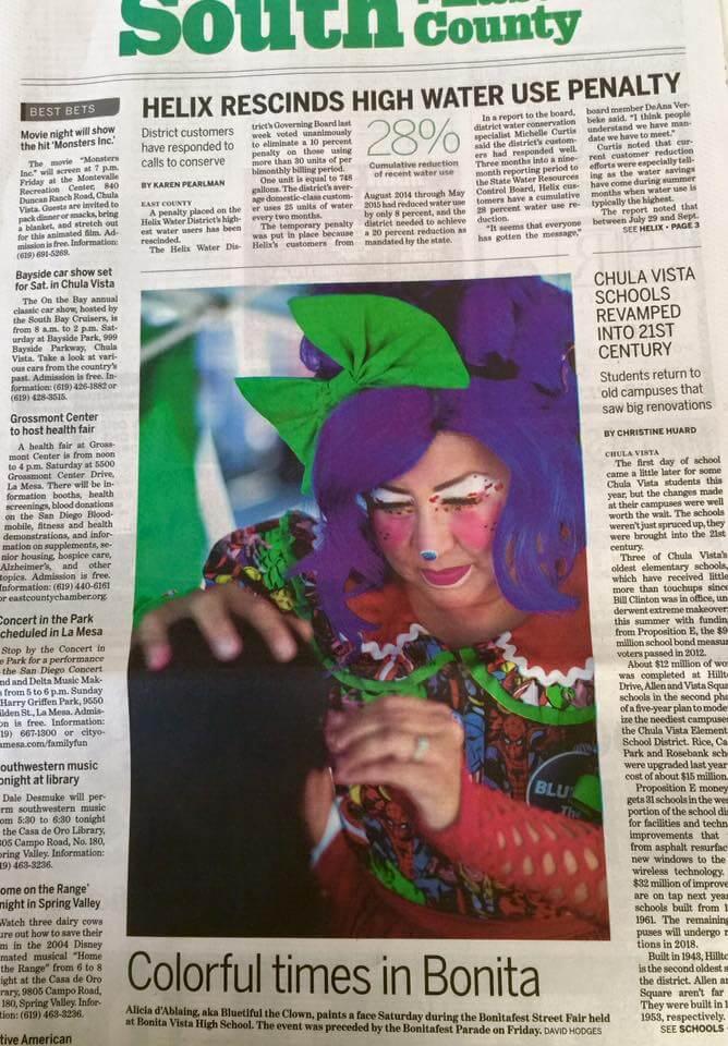 BLUEtiful the Clown in the San Diego Union Tribune!