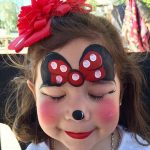Girl with Minnie Style Face Painting and Eyes Closed