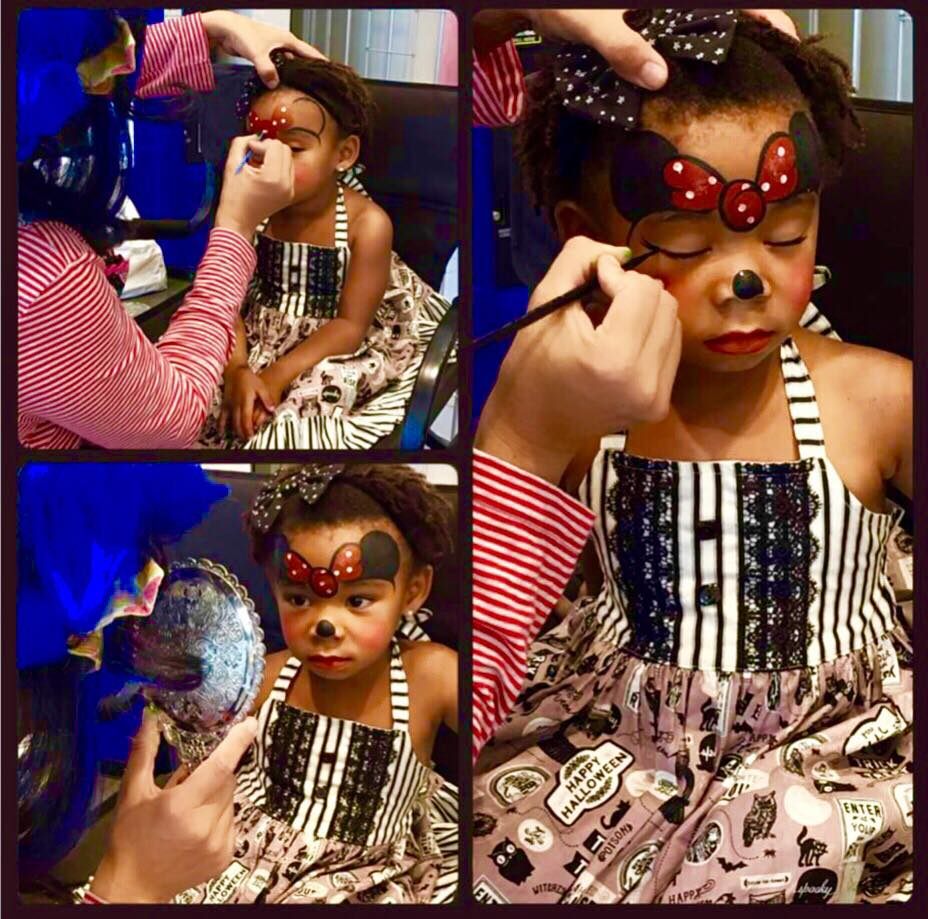 Picture sequence of Bluetiful face painting at an event